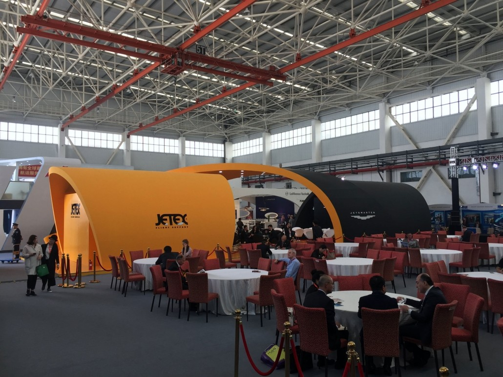 Photo of Jetex booth at ABACE 2016, held at the Hawker Pacific Business Aviation Service Centre in Shanghai